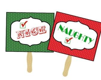 Naughty and Nice Photo Prop Signs - Christmas Photo Props - Holiday Photo Booth Props - Polka Dot Signs