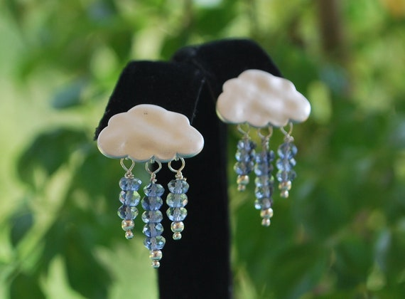 silver clouds labradorite gemstone dainty rainy day earrings