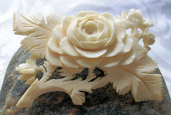 Pre Ban Ivory carved Cabbage rose brooch beautifully carved and one to keep for the next generation