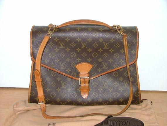 Vintage Louis Vuitton bag Beverly briefcase large satchel handbag monogram canvas brown leather