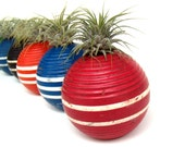 Striped Red Vintage Croquet Ball Repurposed into Air Plant Container