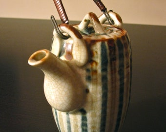 Vintage Japanese Ceramic Sake Pot w/ Lid and Bamboo Handle - Excellent Cond.