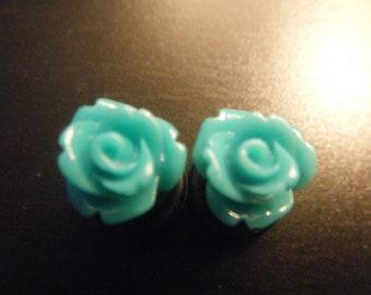 0 Gauge Teal Rose Plugs