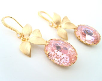 Pale pink 18x13 swarovski oval crystal bezel framed earrings designed gold leaf and cz stone detail hook earwire wedding jewelry