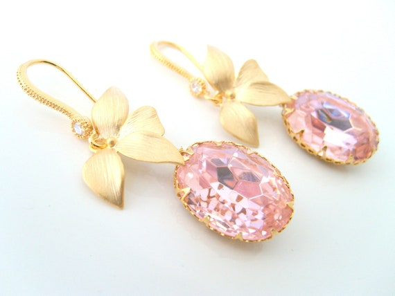 Pale pink 18x13 swarovski oval crystal bezel framed earrings designed gold leaf and cz stone detail hook earwire wedding jewelry