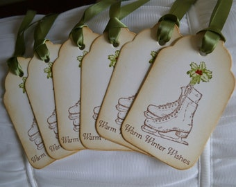 Vintage Inspired Figure Skate Tags with Holly