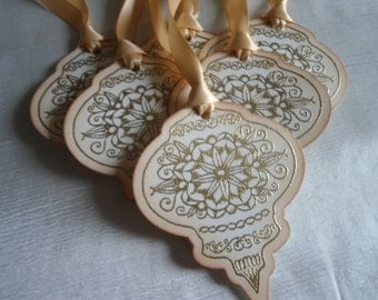 Beautiful Gold Embossed Vintage Inspired Ornament Shaped Tags