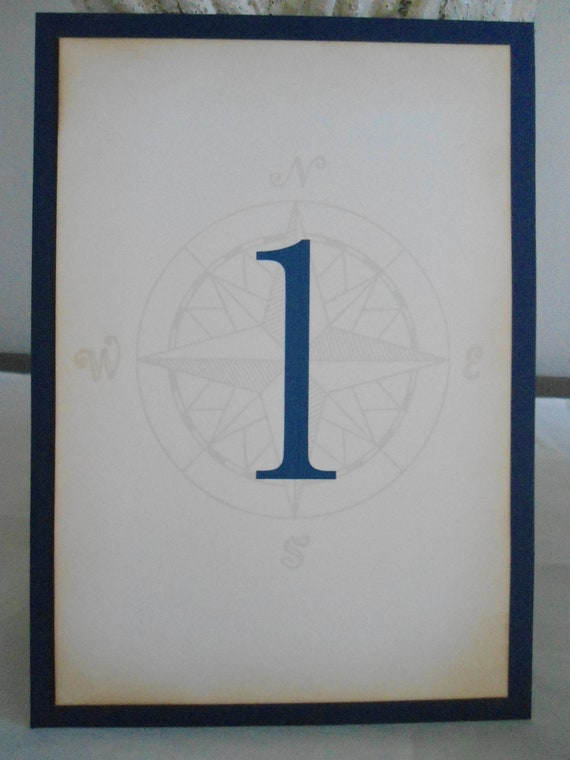 Nautical Style Table Numbers with Compass Watermark