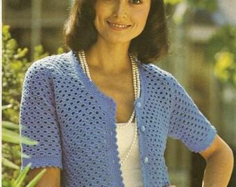 INSTANT DOWNLOAD  Vintage Crochet Pattern, Ladies Crocheted Jacket, Crochet Pattern ,  PDF  pattern