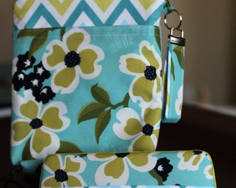 Wet Bag & Wipes Case - Mini Diaper Bag (Boy/Girl/Gender Neutral) - Blue and Green Floral and Chevron