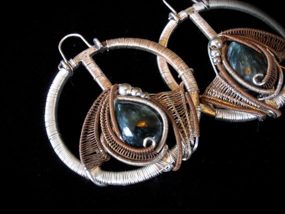 Wire Wrapped Jewelry - Seraphinite Earrings Wire Wrapped Hoops or Pendant with Sterling Silver and Oxidized Copper