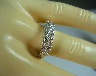 1940s Diamond Wedding Band Ring Fishtail Mounting .20Ctw Size 7.5 3.3mm wide 14K WG