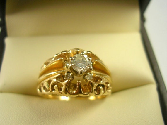 Vintage Wedding Set Diamond Solitaire and Guard .25 Ctw Size 6 Yellow Gold 14K 5.8 grams 1970/80 era