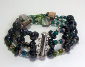 Christmasinjuly, Sale, MovableArt, Hematite Bracelet, Magnetic Healing Hematite - Shell Bracelet With Rainbow Czeh Beads