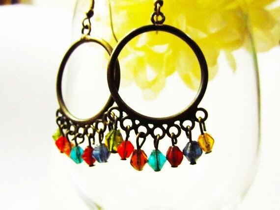 RESERVED - Jewel Tone Bead Earrings