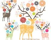 Formosan Deer and Flowers SET - 02(10 inch) Clip Art