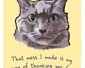 Jen's Cat 8x10 Print of Original Painting with phrase
