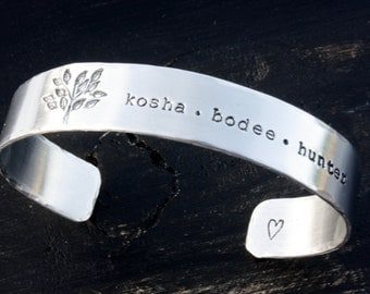 Beautiful Custom Hand Stamped Aluminum 1/2 inch Cuff Bracelet Personalized Christmas