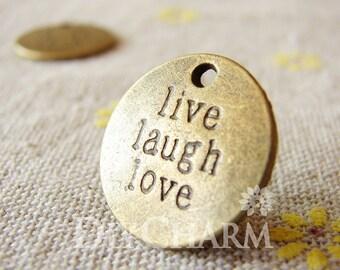 Antique Bronze Round Live Laugh Love Dot Charm Pendants Drops 20x20mm - 10Pcs - DC24976
