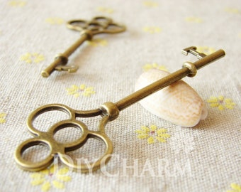 Antique Bronze Huge Key Charm Pendants 75x28mm - 2Pcs - DC25055
