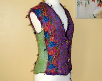 Nuno felted vest, purple, green floral purple green