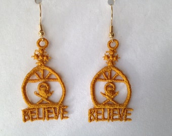 One  Pair Lace Manger Earrings with the word BELIEVE