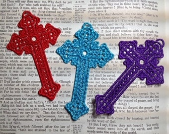 Lace Cross Bookmark......Machine Embroidered