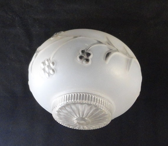 Vintage Art Deco Frosted White Flowers Glass Ceiling Light