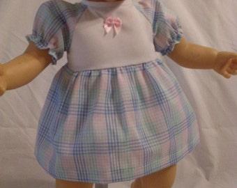 "17-18"" Pastel Plaid Dress and Panty Set"