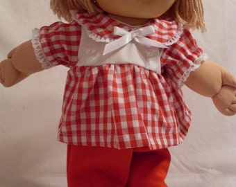"16"" Girl Cabbage Patch Red Pant Set"