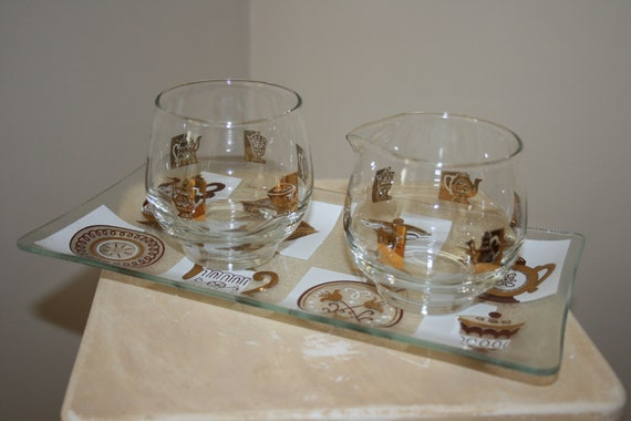 Vintage Inland Glass Creamer Open Sugar with Serving Tray Set Retro Mod Mid Century