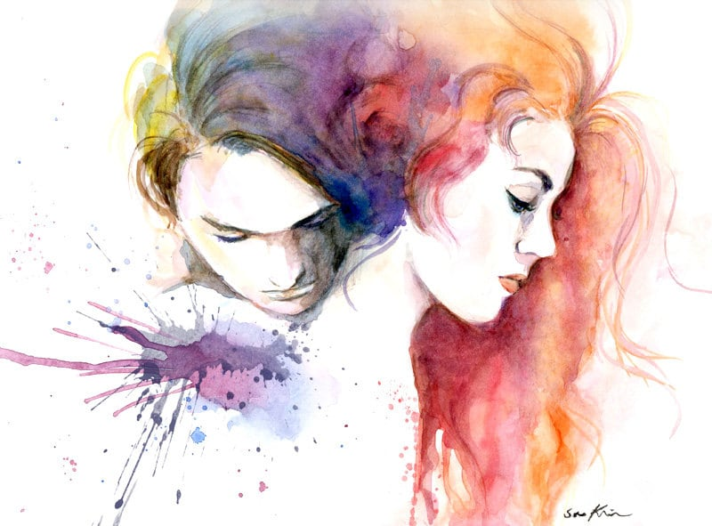 Watercolor painting lovers titanic movie poster inspired for Cool watercolour