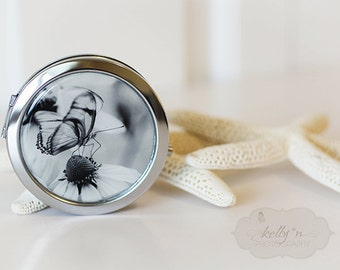"Photo Mirror Compact- ""Counting Moments"", Black and White Butterfly Photograph, 3"" Double Sided Mirror- Engravable Gift Item"