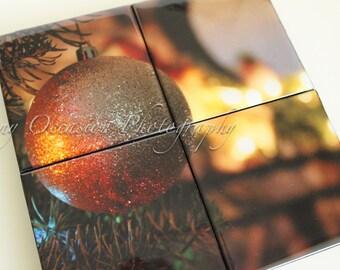 Holiday Home Decor Ornament 8 x 8 inch Photo Coaster Set of 4