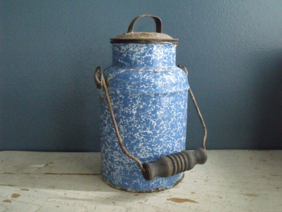 Graniteware Blue Milk Pail Cream Can Enamelware Metal Jug
