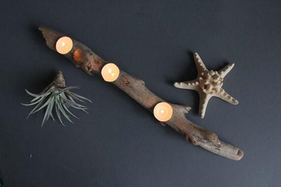 Driftwood Slab Tea Light Candle Holder.  Mantle Decor