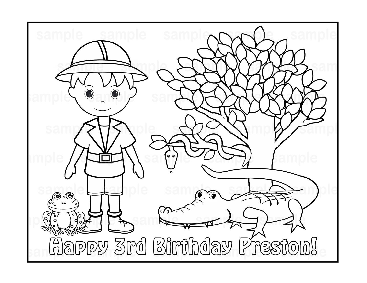 personalized printable safari jungle boy birthday party
