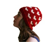 Heart Knit Red Hat with Ivory Hearts - Fall Winter Red Fashion - Women Teens Accessories - Slouchy Beret - Beanie