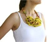 Knitted Necklace in Yellow, Pink and Green - Spring Summer Ruffle Fashion - Women and Teens Accessories