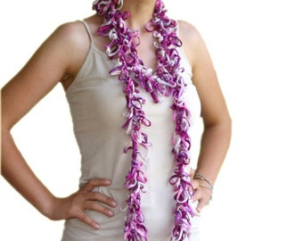 Long Scarflette in Pink, Purple and White - Glittering Scarf - Spring Summer Fall Fashion - Women and Teens Accessories - Frizzy Scarf