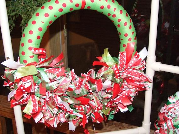 Half Moon Christmas Ribbon Wreath - ribbon wreath Christmas wreath home decor housewares