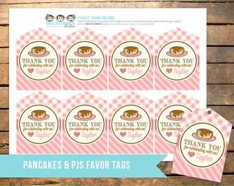 Personalized Pancake and Pajamas PJs Favor Tags