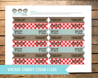 Vintage Cowboy Straw Flags or Food Flags