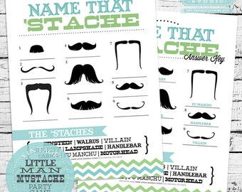INSTANT DOWNLOAD Name That 'Stache Mustache Baby Shower Game