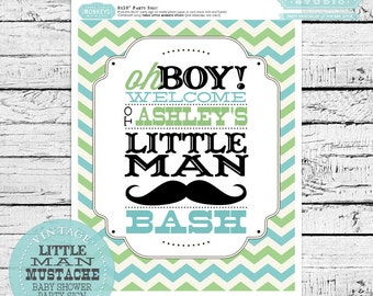 Personalized Little Man or Little Mister Baby Shower Party Welcome Sign