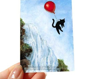 Black Cat Art, Red Balloon, ACEO Print, Waterfall Picture, Animal Illustration, Pet Decor