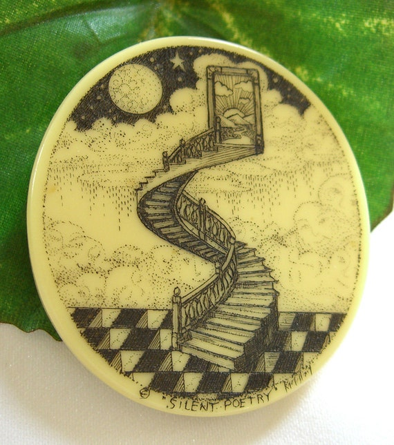 Signed Scrimshaw Brooch MC Escher STYLE / Stairway to the Stars / Titled Silent Poetry