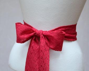 Red Lace Simple Wedding Sash/ Flower Girl Sash/ Handmade Accessory