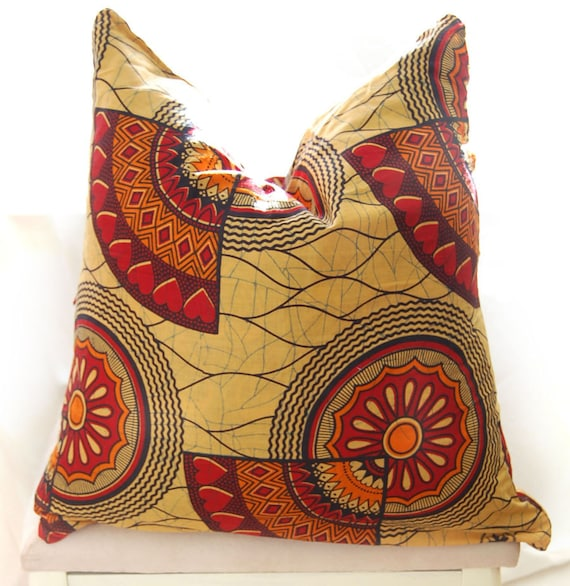 African print cushion cover - Orange & Red 'Love Heart Motif' - large
