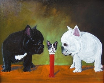 "French Bulldog Art Print of an original oil painting /PEZ/""Dad, is that you""/ 8 x 10 / dog art"